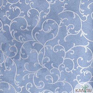 Papel de Parede Grace Arabescos Prata e fundo Azul - 3G202608R