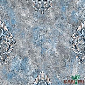 Papel de Parede Moda Em casa 2 Medalhão cimento Azul - MD700003R