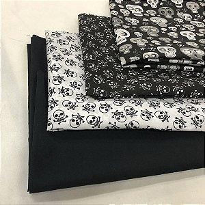 Kit de tricoline Caveiras branca fundo preto/ branca fundo preto (15 Unidades) 50x70cm cada 100%Algodão