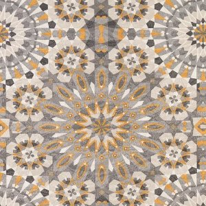 Tecido Jacquard Impermeabilizado Zellige Cinza-Amarelo- Marb 26