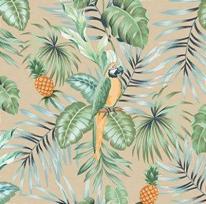 Tecido para Moveis Brasilic Bege-Azul-Verde Floral- Acquablock 06
