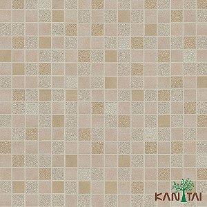 Papel de Parede Moda Em Casa 3 - Quadriculado Rose, Palha e Prata - MD701202K