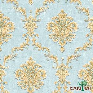 Papel de Parede Moda Em Casa 3 - Medalhão Dourado e Tiffany  -  MD701901R