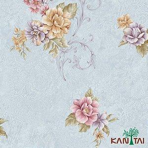 Papel de Parede Moda Em Casa 3- Flores e Arabescos Com Fundo Denim - MD702303R