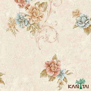Papel de Parede Moda Em Casa 3- Flores e Arabescos com Fundo Rosé e Creme - MD702304R