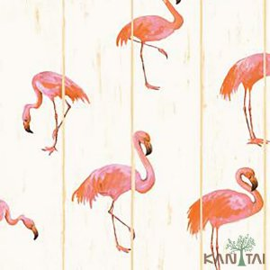 Papel de Parede Stone Age 2 - Creme com Flamingos - SN604301R