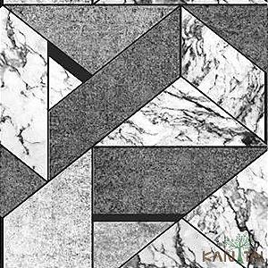 Papel de Parede Stone Age 2 - Geometria Chumbo e Branco - SN606003R