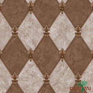 Papel de Parede Moda Em Casa 3 - Losangolo Marrom claro e MarromEscuro  - MD702502R