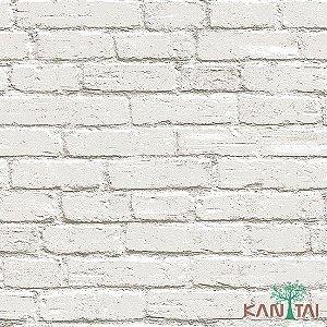Papel de Parede Stone Age - Tijolo Queimado Branco  - SN601001R