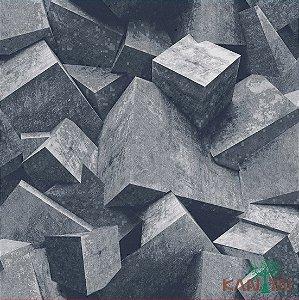 Papel de Parede Stone Age - Cubismo 3D Cinza Azulado - SN601301R
