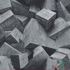 Papel de Parede Stone Age - Cubismo 3D Cinza Claro - SN601303R