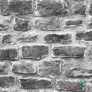 Papel de Parede Stone Age - Tijolo Queimado Acimentado Rustico Cinza - SN601402R