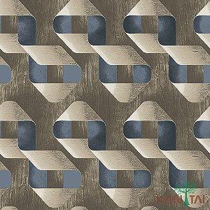 Papel de Parede Stone Age - Laços Textura de madeira -Bege Escuro e Chumbo - SN602502R