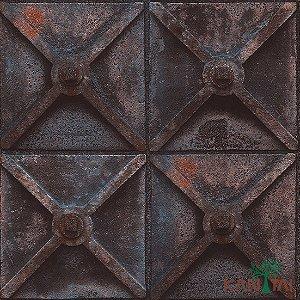 Papel de Parede Stone Age - Potão De Ferro Em X - Ferrugem - SN602801R