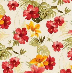 Tecido para Moveis Mariscal Vermelho-Laranja Floral - Acquablock 26