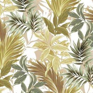 Tecido para Moveis Riviera Verde-Bege Folhas- Acquablock 33