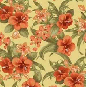 Tecido para Moveis Gamboa Bege-Mostarda Floral- Acquablock 34