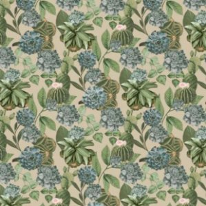 Tecido para Moveis Terrario Bege-Verde Floral- Acquablock 35