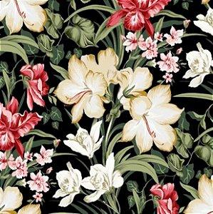 Tecido para Moveis Bahama Preto-Vermelho-Verde Floral- Acquablock 51