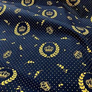Tecido Tricoline 100% Algodão Coroa Azul E Dourado 1,50 de largura - 1728