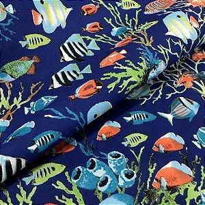 Tecido Tricoline 100% Algodão Fundo do Mar Azul 1,50 de largura - 2877