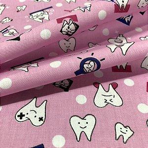 Tecido Tricoline 100% Algodão Dentinhos Fundo Rosa 1,50 de largura - 2923
