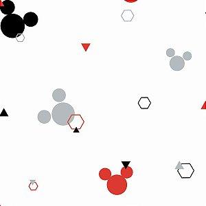 Papel de Parede Branco Mickey Geometrico Preto Cinza Vermelho- DI0927A