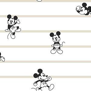 Papel de Parede Mickey Listras Bege - DI0932A