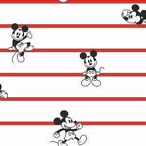 Papel de Parede Mickey Listras Vermelho - DI0933A