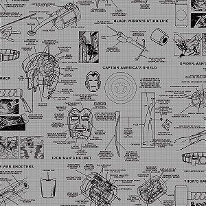Papel de Parede Vingadores Cinza - DI0936A