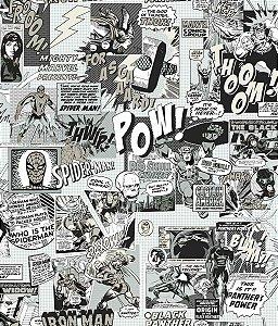 Papel de Parede Gibi Marvel Preto e Branco - DI0946A
