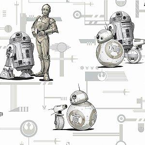 Papel de Parede Star Wars R2-D2 e C-3PO Preto e Branco - DI0947A