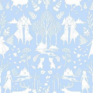 Papel de Parede Frozen Ana e Elsa Azul - DI1012A