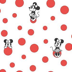 Papel de Parede Minnie Bolinhas Vermelho - DI1029A