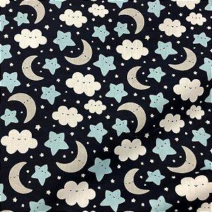 Tecido Tricoline 100% Algodão Estrelas Fundo Azul Marinho 1,50 de largura -3033