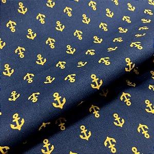 Tecido Tricoline 100% Algodão Âncoras Ouro Fundo Azul Marinho 1,50 de largura -1729