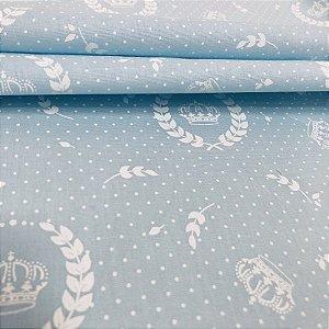 Tecido Tricoline 100% Algodão Coroas Branca fundo Azul 1,50 de largura -1789