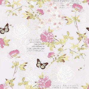 Papel de Parede Florido Rose - PR8333