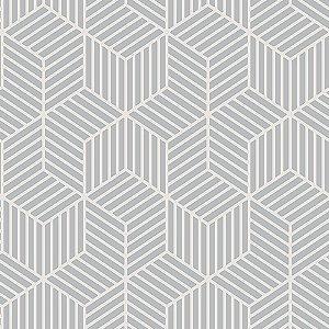 Papel de Parede Cubic- Geométrico Comeia Cinza - CU87418