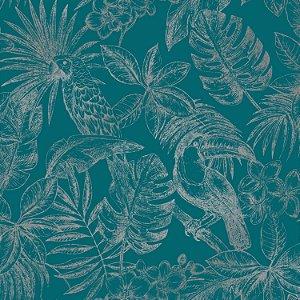 Papel de Parede Amazonas Azul Indigo Brilhante - L70701