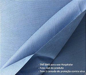 Tecido TNT SMS Azul indico hospitalar, 1 camada filtrante, 10 mts comprimento e 1,60 mts de largura