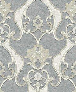 Papel de parede Florence - Brasão Flor Arabesco - Cinza e Branco - FR87232