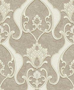 Papel de parede Florence - Brasão Flor Arabesco - Marrom e Bege - FR87233