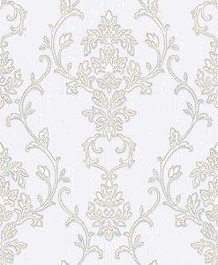 Papel de parede Florence -Flor Arabesco - Off White e Prata - FR87241