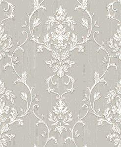 Papel de parede Florence -Flor Arabesco - Cinza e Branco - FR87242