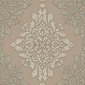 Papel de parede Florence -Brasão Lotus de Arabescos Marrom e Bege  - FR87251