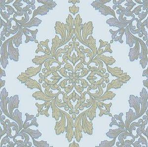 Papel de parede Florence - Brasão Lotus de Arabescos Acqua e Bege  - FR87252