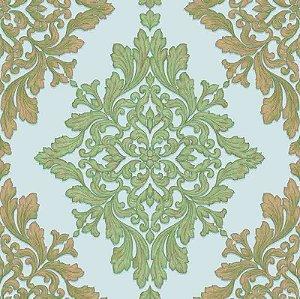 Papel de parede Florence - Brasão Lotus de Arabescos Bege e Dourado  - FR87253