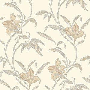 Papel de Parede Flores Creme e Bege - HD1814