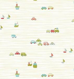 Papel de parede Nido Infantil 8701-3 Carros e listras verde claro